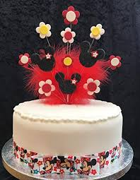 Minnie Mouse Birthday Cake Topper Black Red Yellow With Flowers