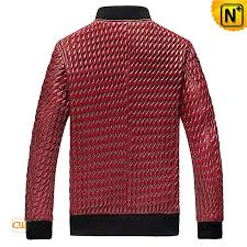 Red Quilted Leather Jacket Mens CW850010 &  Adamdwight.com