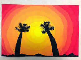 the sunset background is a simple exercise in painting a yellow circle gradually adding red to the paint and painting a ring around the circle with each