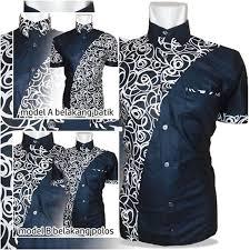 modern black white. Baju Kemeja Batik Elegaan Modern Black Kombinasi White A