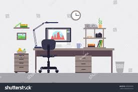 designer office desk isolated objects top view. colorful designer workspace concept with interior elements equipment and objects in flat style isolated vector illustration office desk top view e