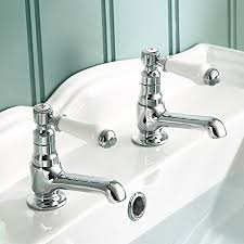 chrome bathroom faucet. Traditional Twin Basin Sink Hot And Cold Taps Pair Chrome Bathroom Faucet TB134 E