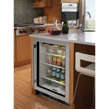 Undercounter Beverage Refrigerator Glass Door Kitchen Portable Modern Beverage Center With Black Color Also