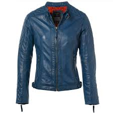 leather jacket blue kore