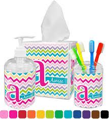 colorful bathroom accessories. Colorful Chevron Bathroom Accessories Set (Personalized)