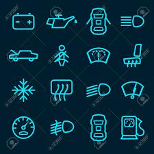 Auto Dashboard Pictogrammen Die Met Geïsoleerd Waarschuwingslichten Brandstof Deur Vervoeren Symbolen Vector Illustratie