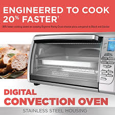 black decker cto6335s 6 slice digital convection countertop toaster oven includes bake pan broil rack toasting rack stainless steel digital convection