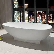 71 in oval man made stone freestanding bathtub matte white dk ha8616