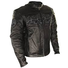 xelement bxu6050 men s black armored leather motorcycle jacket with skull embroidery leatherup com