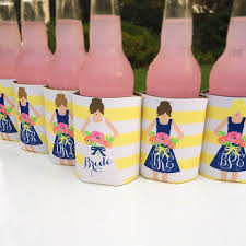 haymarket designs personalized wedding party koozies Wedding Wine Koozies yellow and navy bridesmaid dress koozie cute way to ask bridesmaid wedding wine koozies