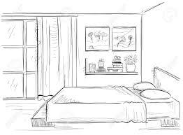 寝室のインテリア白で隔離部屋のスケッチ図