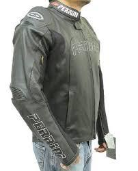 perrini tornado motorcycle atv leather gp armor ce padded black racing jacket