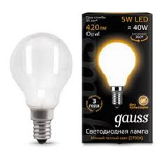 <b>Лампа</b> шар <b>Gauss LED Filament</b> Globe OPAL E14 5W 2700K ...