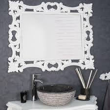 Miroir Baroque En Bois Patin Blanc 100cm X 80cm Achat Vente