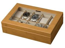 glass top watch box for 10 mens or womens watches bamboo finish