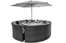 bentley rattan outdoor garden furniture grey round dining table sofa set 7426763278334