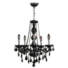 provence collection 5 light chrome and black crystal chandelier