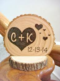 Personalized Rustic Wedding Cake Topper Wood Hearts Small Size