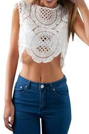 Crochet Crop Top Pattern Enchanting Lace Crochet Geometric Pattern Zipper Back Crop Top Beautifulhalo