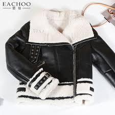 black leather white sheep fur lining jacket