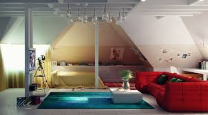 ... Stunning Sloping Wood Roof Attic Bedroom Design : Glamorous Attic  Bedroom Sloping Roof Decorating With Red ...