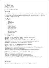 Resume Templates: Chemical Process Operator