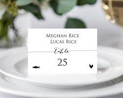 Place Card Holder Template Place Card Template Place Cards With Meal Choice Place Cards Wedding Place Cards Printable Place Cards With Meal Icon Seating Cards