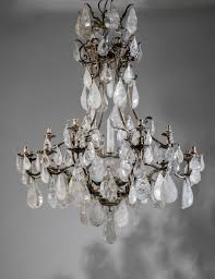 massive silvered bronze and rock crystal chandelier
