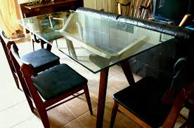 table design. Full Size Of Rectanguler Clear Glass Dining Table Design Idea With Wood Crossed Legs Room Modern