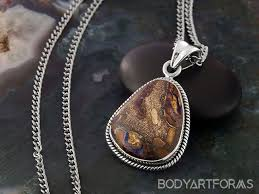 boulder opal and silver necklace
