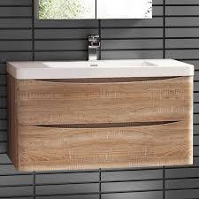 900 x 550mm wall mount modern oak bathroom vanity unit stone countertop basin