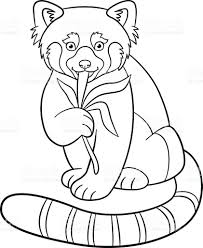 Small Picture Coloring Pages Little Cute Red Panda Eats Leaves stock vector art