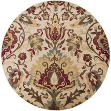 surya riley beige round indoor nature area rug common actual 8