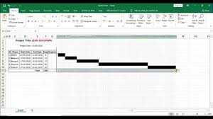 Create Gantt Chart In Excel For Lean Six Sigma Dmaic Project Management