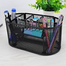 9 storage multi functional mesh metal desk organizer pen holder stationery container box office school supplies caddy black