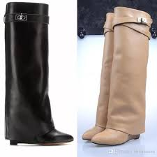 designer metal shark lock women knee high boots polish leather long booties strap wedges shoes las knight layer boots fashion shoes winter shoes from