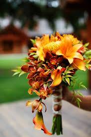 ideas burnt orange: mixture of brown and burnt orange and calla lilies camop wedding bouquet ideas