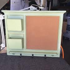 White Board Mail Organizer letter holder Key / Coat / Hat rack - lightly  distressed shabby chic - Home Decor