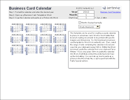 business card excel template print a yearly calendar on a business card