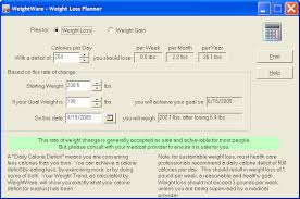 Daily Calorie Chart For Weight Loss Weightware Body Mass Index Calculator
