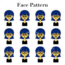 メガネをかけたショートヘアの女性のシンプルでかわいい顔の表情12