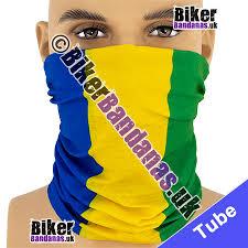 Yellow Blue Green Blue Yellow And Green Tri Stripe Neck Tube Bandana Bikerbandanas Uk