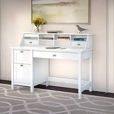 white desk in kitchen. Wonderful White Bush Furniture Broadview Pure White Desk With Drawers And Organizer For In Kitchen O