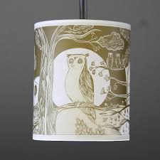 owl lampshade small gold by lush designs