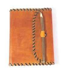 share orange color leather with hand stitch goat tc leather journal on facebook