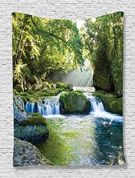 ambesonne jungle tapestry forest rainforest waterfall decor by foliage mountains and mossy rocks view print on rock art wall hanging with amazon ambesonne jungle tapestry forest rainforest waterfall