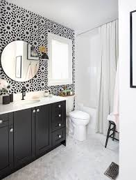 medium size of sophisticated powder room with a splendid black vanity and wallpaper in gray and