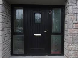 black front door with double glazed side panels