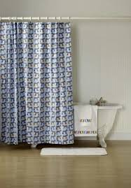 blue grey shower curtain with horse pattern for bathroom decoration ideas
