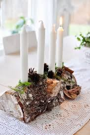 Log Crafts Winter Centerpiece With Wood And Candles 15 Diy Winter
